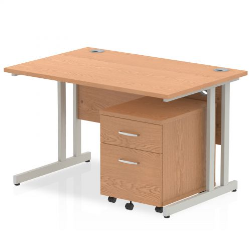 Impulse 1200 Straight Cantilever Workstation 500 Two drawer mobile Pedestal Bundle Oak