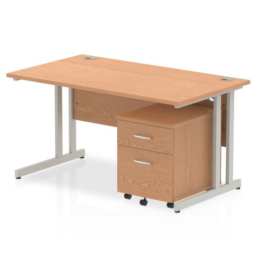 Impulse 1400 Straight Cantilever Workstation 500 Two drawer mobile Pedestal Bundle Oak