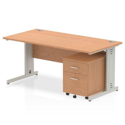 Impulse 1600 Straight Wire Managed Workstation 500 Two drawer mobile Pedestal Bundle Oak