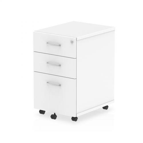 Impulse Under Desk Pedestal 3 Drawer White