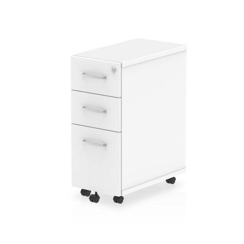 Impulse Narrow Under Desk Pedestal 3 Drawer White