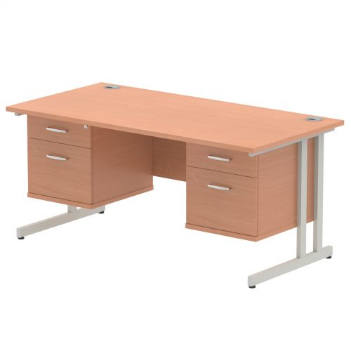 Impulse 1600 Rectangle Silver Cant Leg Desk Beech 2 x 2 Drawer Fixed Ped