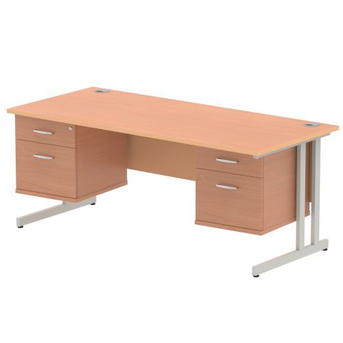 Impulse 1800 Rectangle Silver Cant Leg Desk Beech 2 x 2 Drawer Fixed Ped