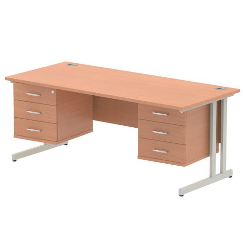 Impulse 1800 Rectangle Silver Cant Leg Desk Beech 2 x 3 Drawer Fixed Ped