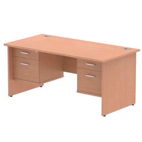 Impulse 1600 Rectangle Panel End Leg Desk Beech 2 x 2 Drawer Fixed Ped