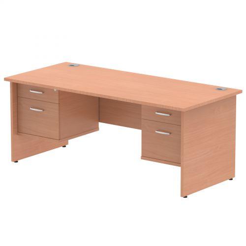 Impulse 1800 Rectangle Panel End Leg Desk Beech 2 x 2 Drawer Fixed Ped