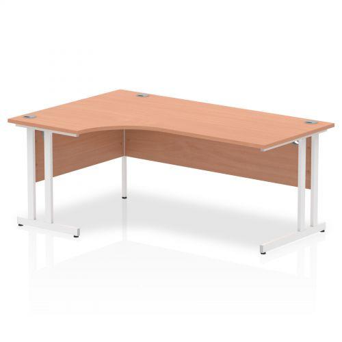 Impulse 1800 Left Hand White Crescent Cantilever Leg Desk Beech