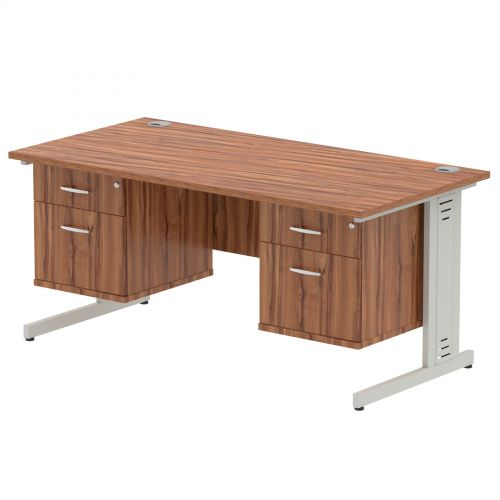 Impulse 1600 Rectangle Silver Cable Managed Leg Desk WALNUT 2 x 2 Drawer Fixed Ped