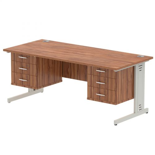 Impulse 1800 Rectangle Silver Cable Managed Leg Desk WALNUT 2 x 3 Drawer Fixed Ped