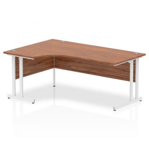 Impulse 1800 Left Hand White Crescent Cantilever Leg Desk Walnut
