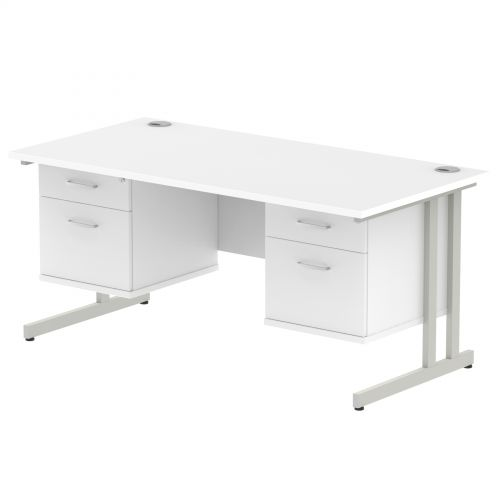 Impulse 1600 Rectangle Silver Cant Leg Desk WHITE 2 x 2 Drawer Fixed Ped