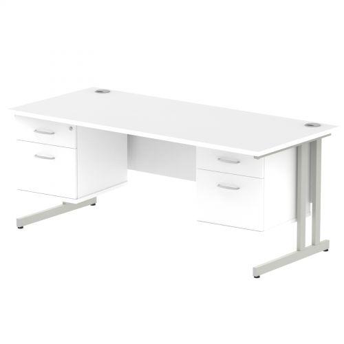 Impulse 1800 Rectangle Silver Cant Leg Desk WHITE 2 x 2 Drawer Fixed Ped