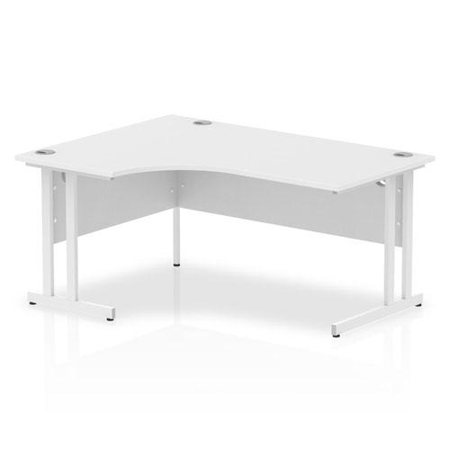 Impulse 1600mm Left Crescent Desk White Top White Cantilever Leg I002392