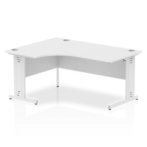 Impulse 1600 Left Hand White Crescent Cable Managed Leg Desk White