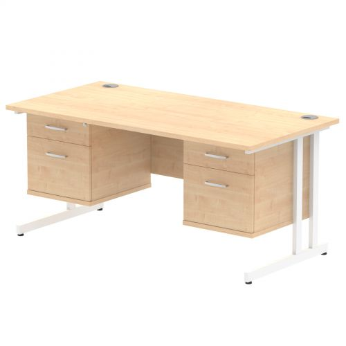 Impulse 1600 Rectangle White Cant Leg Desk MAPLE 2 x 2 Drawer Fixed Ped