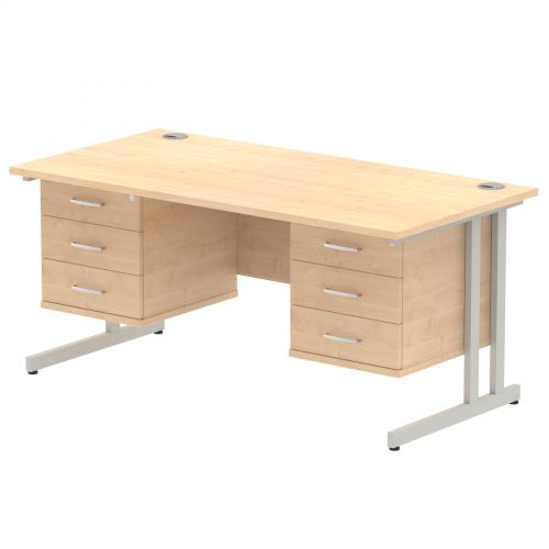 Impulse 1600 Rectangle Silver Cant Leg Desk MAPLE 2 x 3 Drawer Fixed Ped