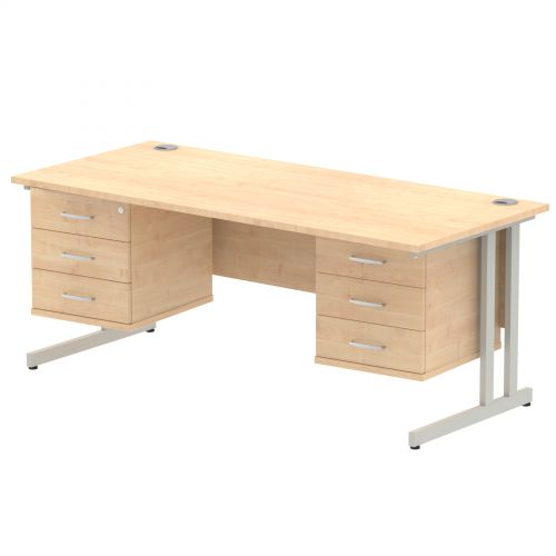 Impulse 1800 Rectangle Silver Cant Leg Desk MAPLE 2 x 3 Drawer Fixed Ped