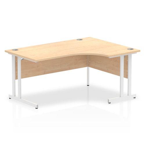 Impulse 1600 Right Hand White Crescent Cantilever Leg Desk Maple