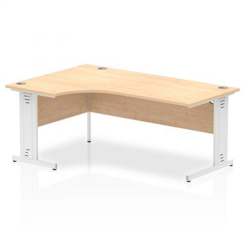Impulse 1800 Left Hand White Crescent Cable Managed Leg Desk Maple