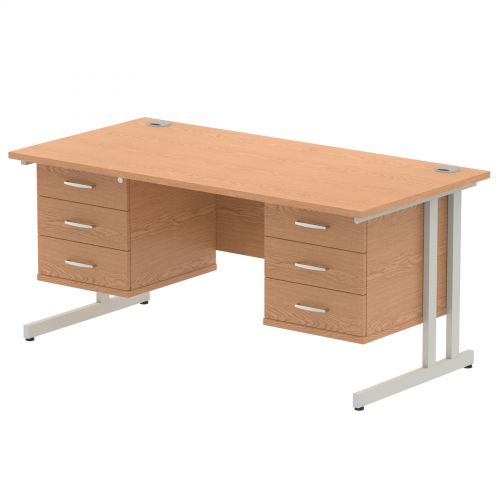 Impulse 1600 Rectangle Silver Cant Leg Desk OAK 2 x 3 Drawer Fixed Ped