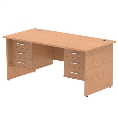 Impulse 1600 Rectangle Panel End Leg Desk OAK 2 x 3 Drawer Fixed Ped