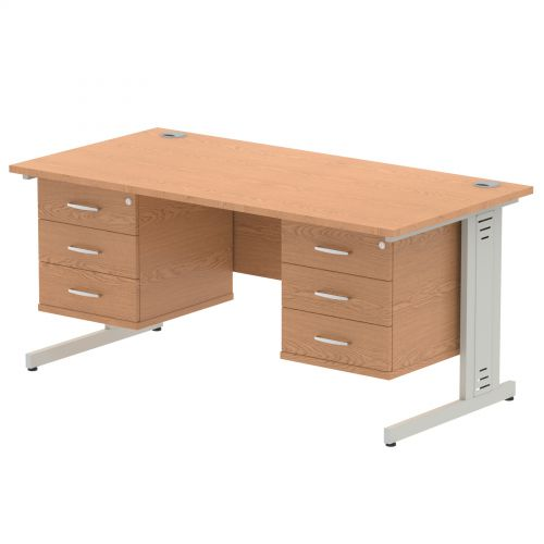 Impulse 1600 Rectangle Silver Cable Managed Leg Desk OAK 2 x 3 Drawer Fixed Ped