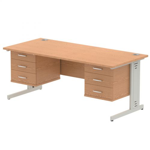 Impulse 1800 Rectangle Silver Cable Managed Leg Desk OAK 2 x 3 Drawer Fixed Ped