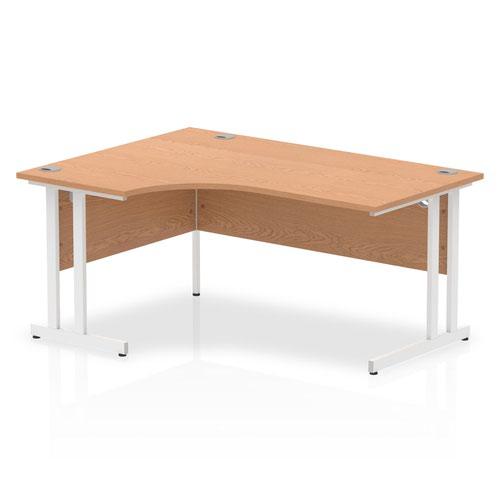 Impulse 1600mm Left Crescent Desk Oak Top White Cantilever Leg I002844