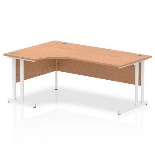 Impulse 1800 Left Hand White Crescent Cantilever Leg Desk Oak