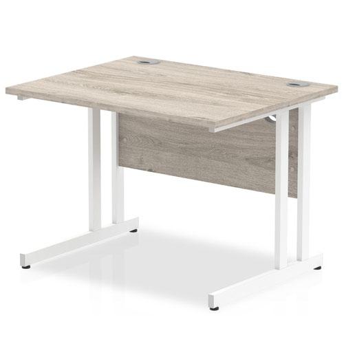 Impulse 1000/800 Rectangle White Cantilever Leg Desk Grey Oak