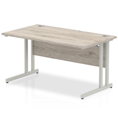 Impulse 1400 x 800mm Straight Desk Grey Oak Top Silver Cantilever Leg I003070