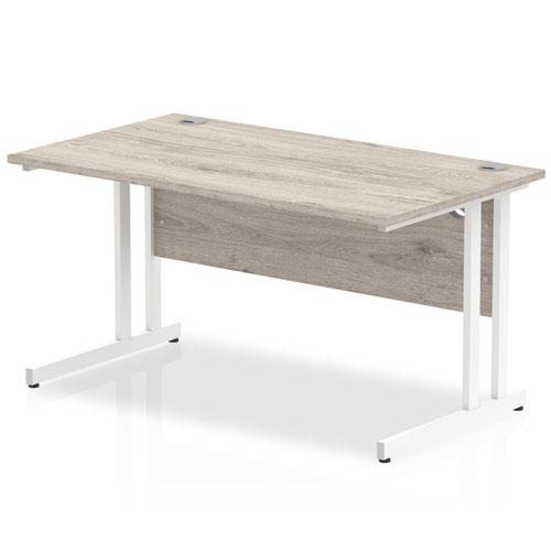 Impulse 1400 x 800mm Straight Desk Grey Oak Top White Cantilever Leg I003073