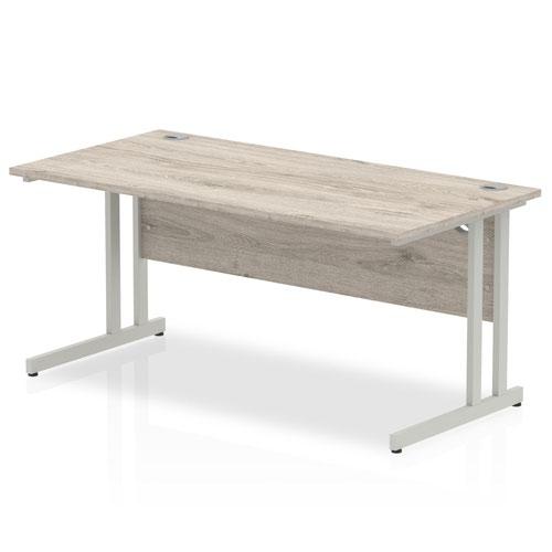 Impulse 1600/800 Rectangle Silver Cantilever Leg Desk Grey Oak
