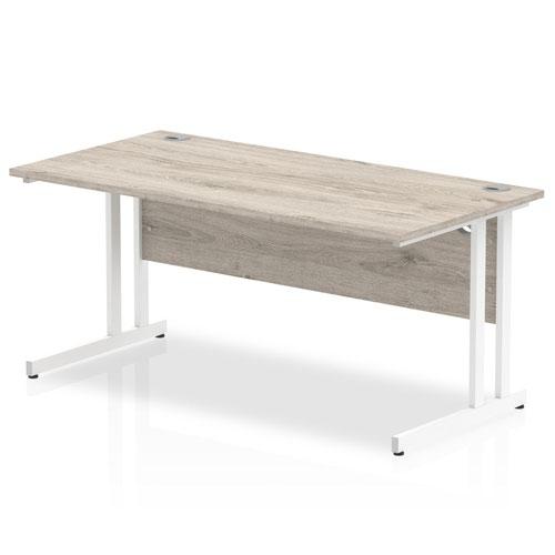Impulse 1600/800 Rectangle White Cantilever Leg Desk Grey Oak
