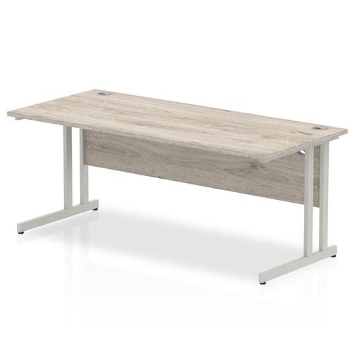 Impulse 1800 x 800mm Straight Desk Grey Oak Top Silver Cantilever Leg I003078