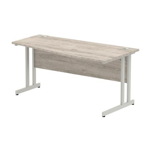 Impulse 1200/800 Rectangle White Cable Managed Leg Desk Grey Oak