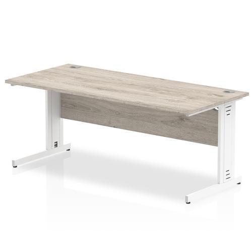 Impulse 1600/800 Rectangle White Cable Managed Leg Desk Grey Oak