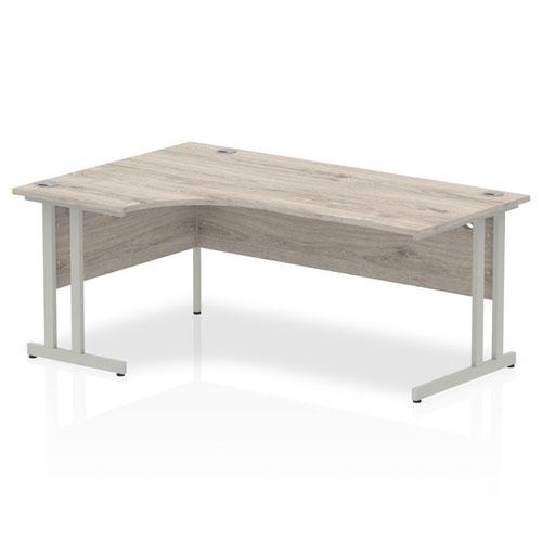 Impulse 1800mm Left Crescent Desk Grey Oak Top Silver Cantilever Leg I003134