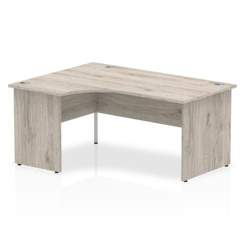Impulse Panel End 1600 Left Hand Crescent Desk Grey Oak
