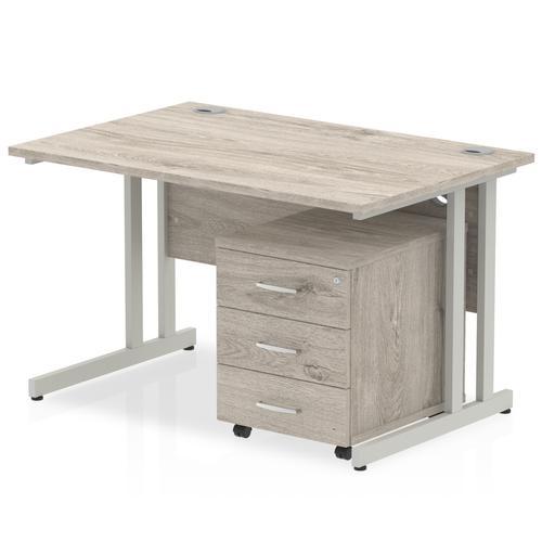 Impulse 1200 Straight Cantilever Silver Workstation With Three Drawer Mobile Pedestal Bundle Grey Oak