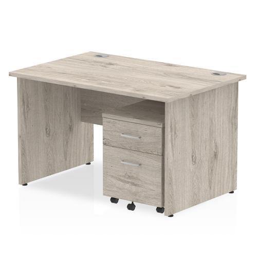 Impulse 1200 Straight Panel End Workstation With Two Drawer Mobile Pedestal Bundle Grey Oak