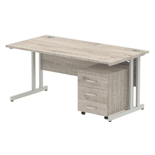 Impulse 1600 Straight Cantilever Silver Workstation With Three Drawer Mobile Pedestal Bundle Grey Oak