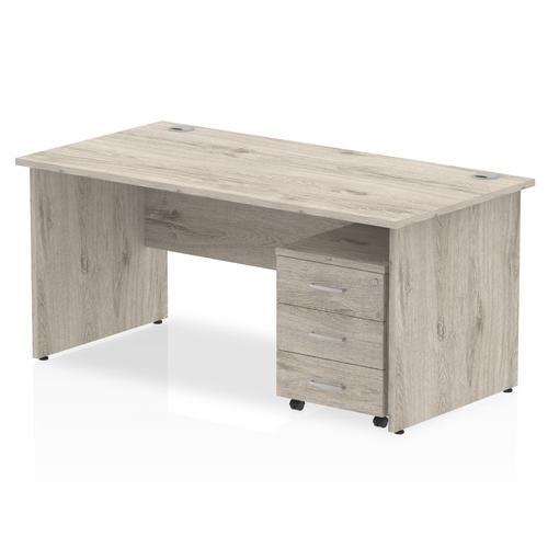 Impulse 1600 Straight Panel End Workstation With Three Drawer Mobile Pedestal Bundle Grey Oak