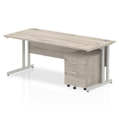 Impulse 1800 Straight Cantilever Silver Workstation With Two Drawer Mobile Pedestal Bundle Grey Oak