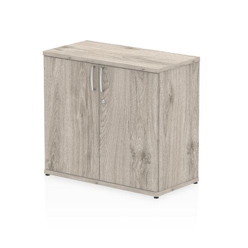 Impulse 600mm deep Desk High Cupboard Grey Oak