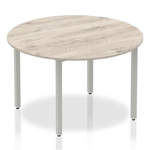 Impulse 1200mm Circle Table Grey Oak Top Silver Box Frame Leg I003258