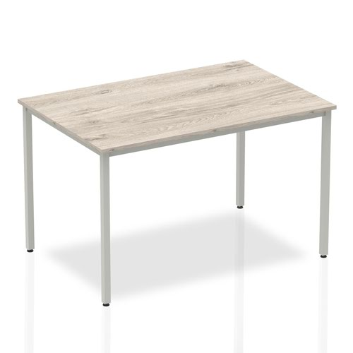 Impulse Straight Table 1200 Grey Oak Box Frame Leg Silver