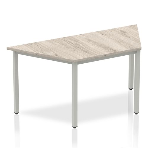 Impulse Trapezium Table 1600 Grey Oak Box Frame Leg Silver