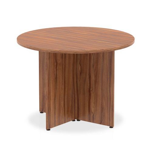 Impulse 1000mm Round Table Walnut Top Arrowhead Leg