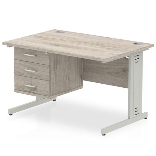 Impulse 1200 Rectangle Silver Cable Managed Leg Desk Grey Oak 1 x 3 Drawer Fixed Ped